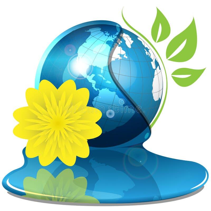 Globo y flor amarilla stock de ilustración