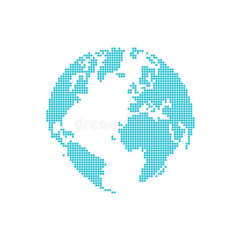 Globo y mapa punteados del estilo stock de ilustración