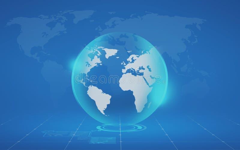 Globo y mapa virtuales sobre fondo azul libre illustration