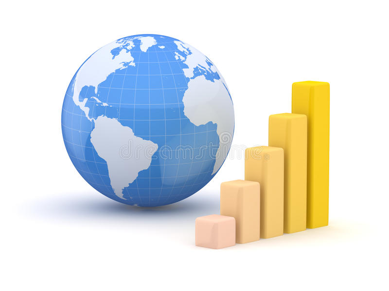 Globo y negocio. Tierra y mapa del mundo. 3d libre illustration