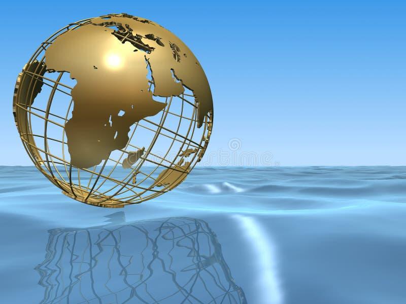 Globo y océano ilustración del vector
