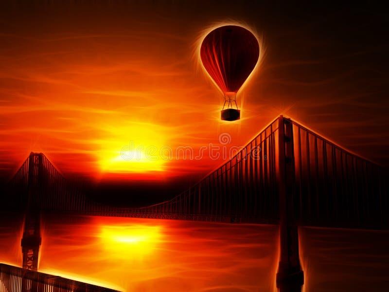 Globo y puente Golden Gate del aire caliente stock de ilustración