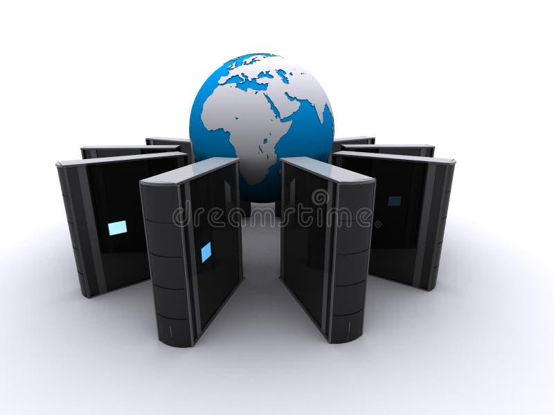 Globo y servidor ilustración del vector