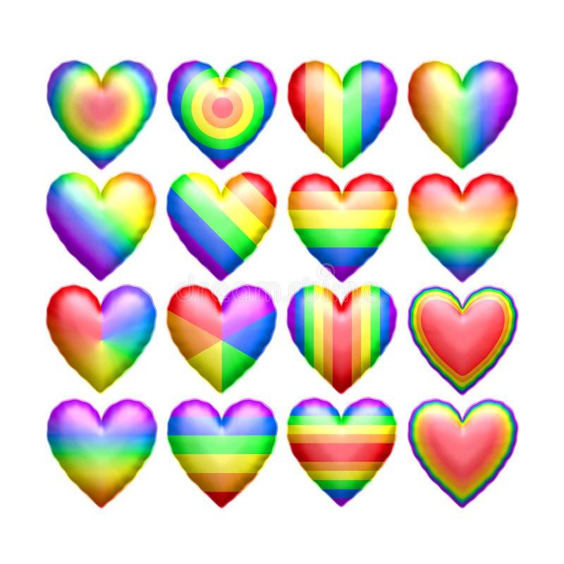 Globos aislados de la forma del corazón del color del arco iris libre illustration
