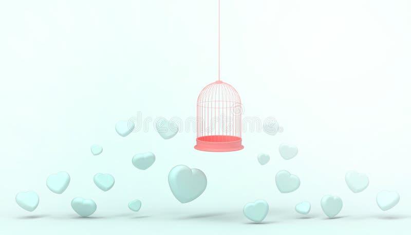 Globos azules del corazón atrapados en la jaula roja y el grupo mínimo del corazón, concepto del amor - estilo del flotador de la ilustración del vector
