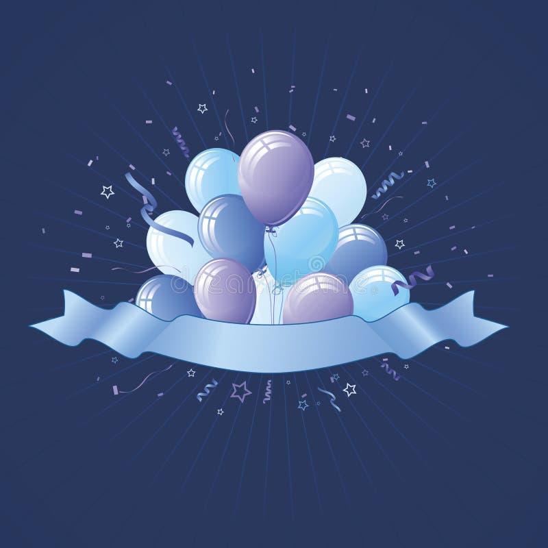 Globos azules del partido y bandera azul ilustración del vector