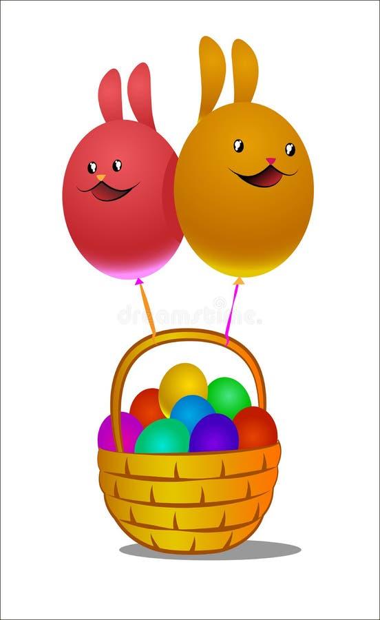 Globos bajo la forma de conejito y cesta de pascua con los huevos ilustración del vector