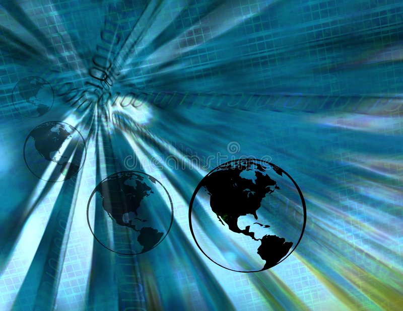 Globos binários da terra (azuis) ilustração do vetor