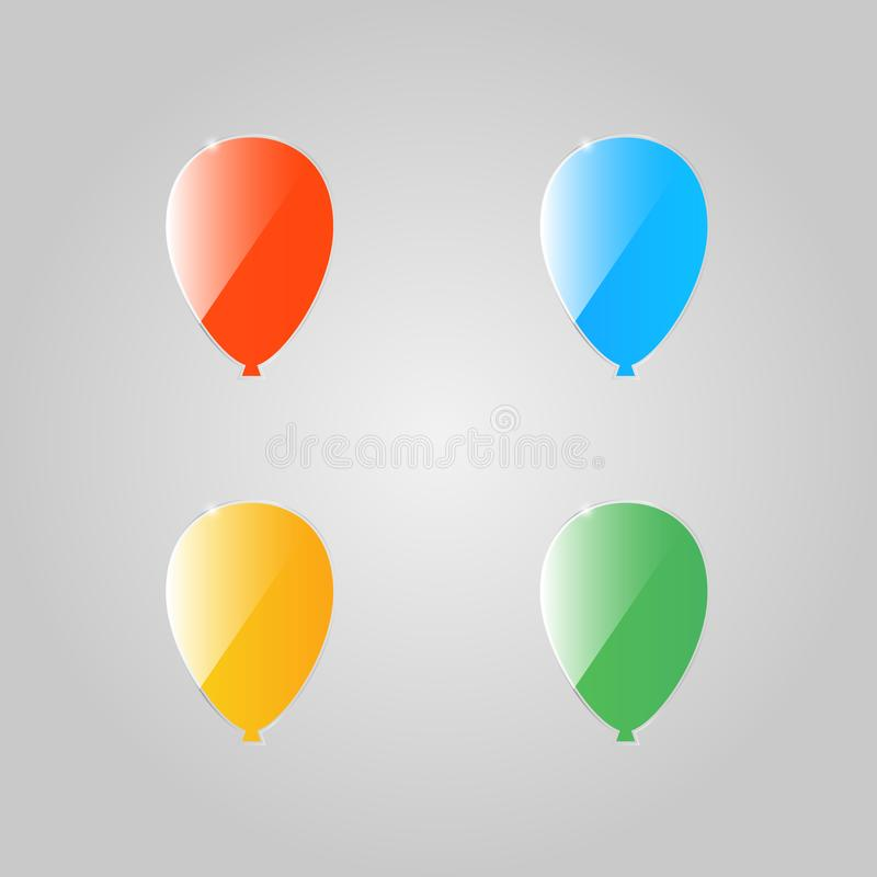 Globos brillantes coloreados en un fondo gris libre illustration