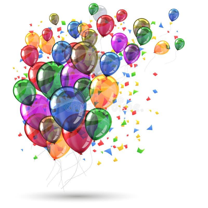 Globos coloreados grupo de la mosca del helio con confeti - stock de ilustración