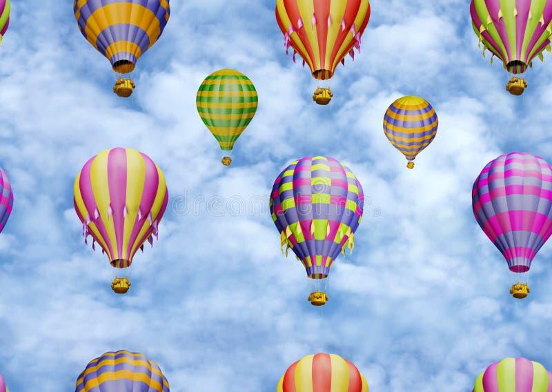 Globos coloridos en el cielo. Modelo inconsútil ilustración del vector
