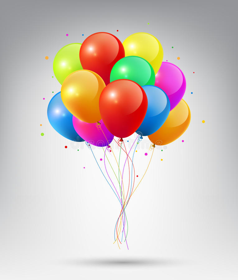 Globos coloridos brillantes realistas que vuelan con concepto del partido y de la celebración en el fondo blanco ilustración del vector