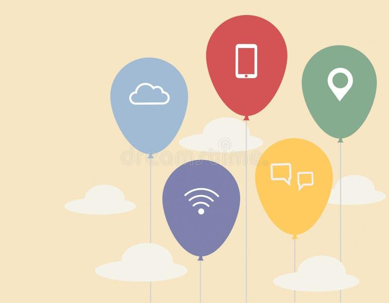 Globos coloridos con el icono de la comunicación stock de ilustración