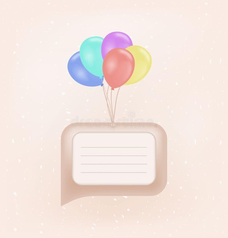 Globos coloridos con el mensaje en blanco libre illustration