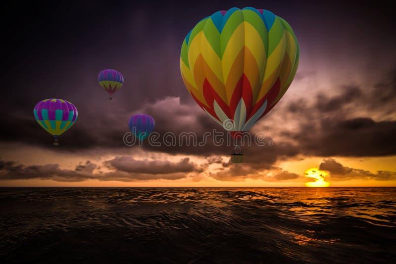 Globos coloridos del aire caliente sobre el mar imágenes de archivo libres de regalías