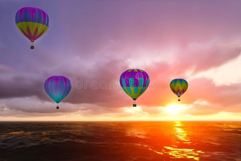 Globos coloridos del aire caliente sobre el mar fotografía de archivo libre de regalías