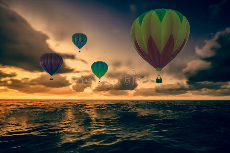 Globos coloridos del aire caliente sobre el mar imagen de archivo