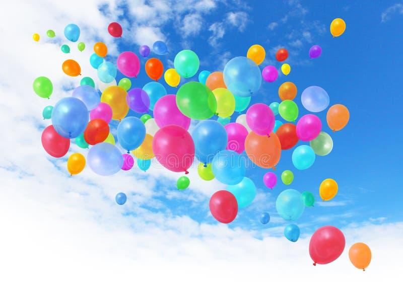 Globos coloridos en el cielo azul foto de archivo