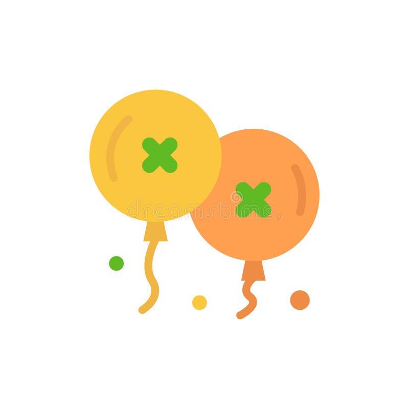 Globos, cumpleaños, fiesta de cumpleaños, icono plano del color de la celebración Plantilla de la bandera del icono del vector ilustración del vector