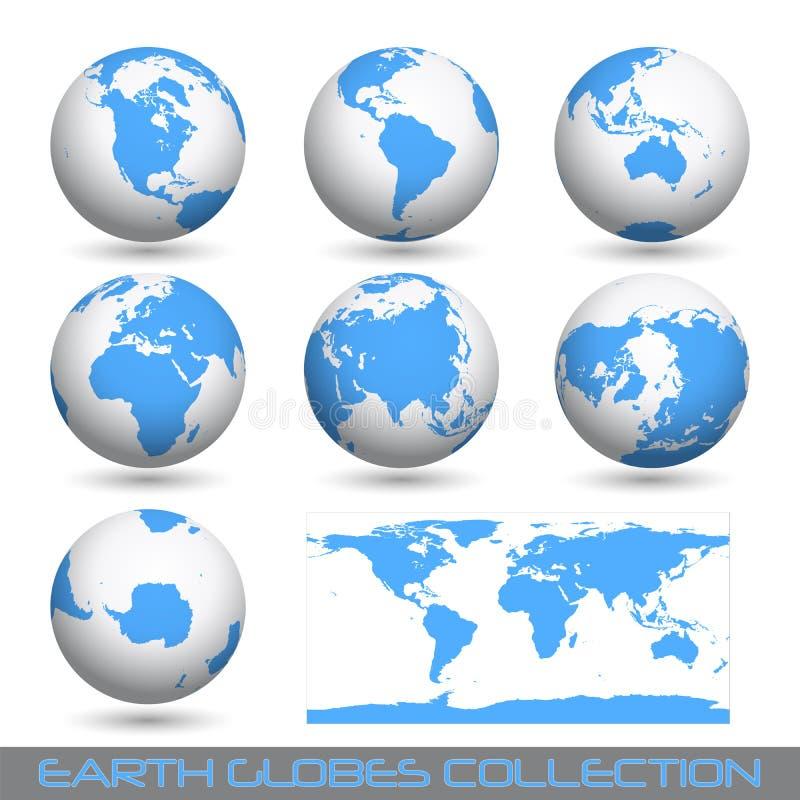Globos da terra, branco-azuis ilustração stock