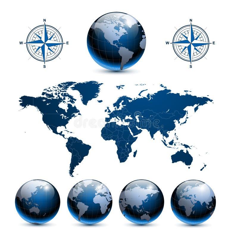 Globos da terra com mapa de mundo ilustração stock