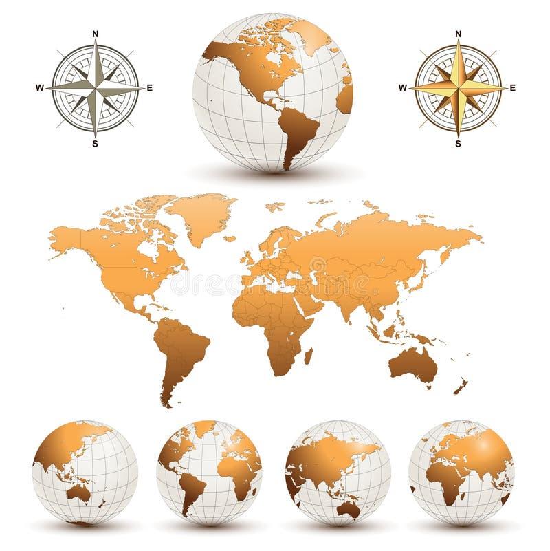 Globos da terra com mapa de mundo ilustração do vetor