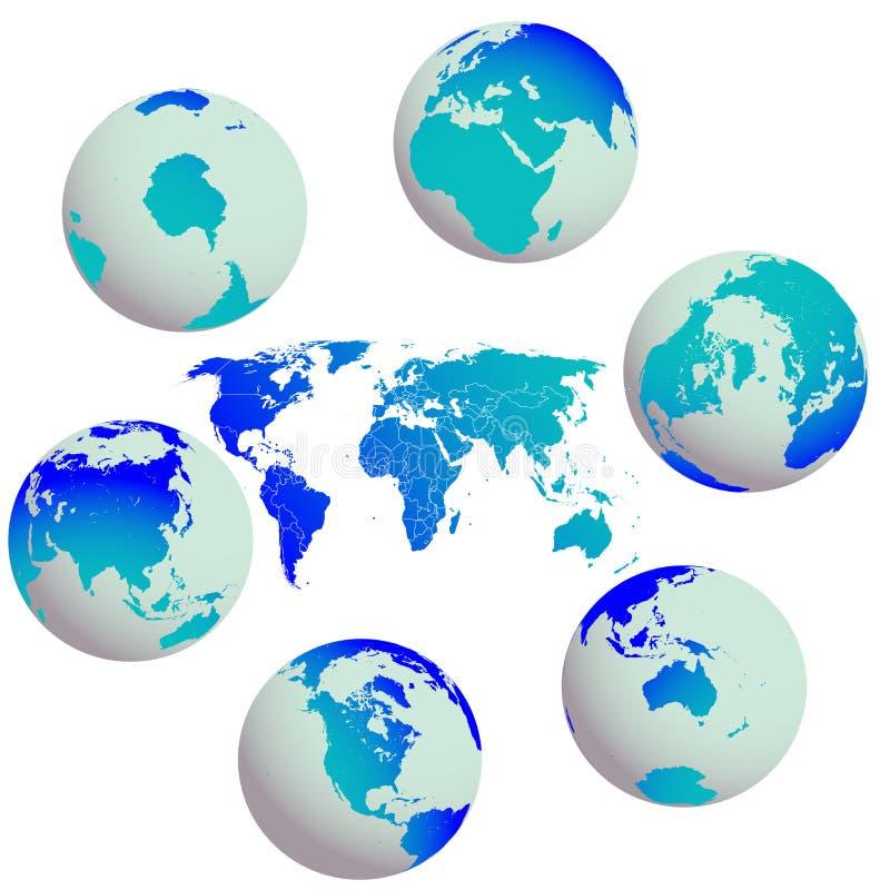 Globos da terra e mapa de mundo de encontro ao branco ilustração do vetor