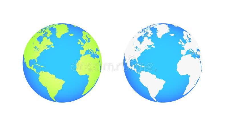 Globos da terra isolados no fundo branco Ícone liso da terra do planeta Ilustração do vetor ilustração royalty free