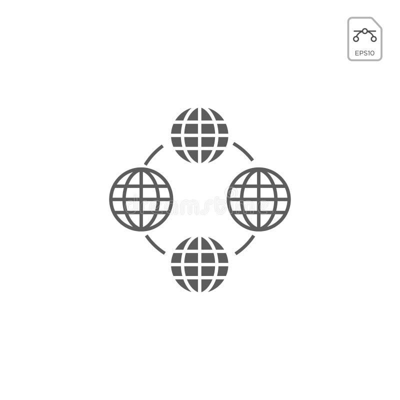 Globos da terra isolados no fundo branco Ícone liso da terra do planeta Ilustração do vetor ou inspiração do logotipo ilustração royalty free