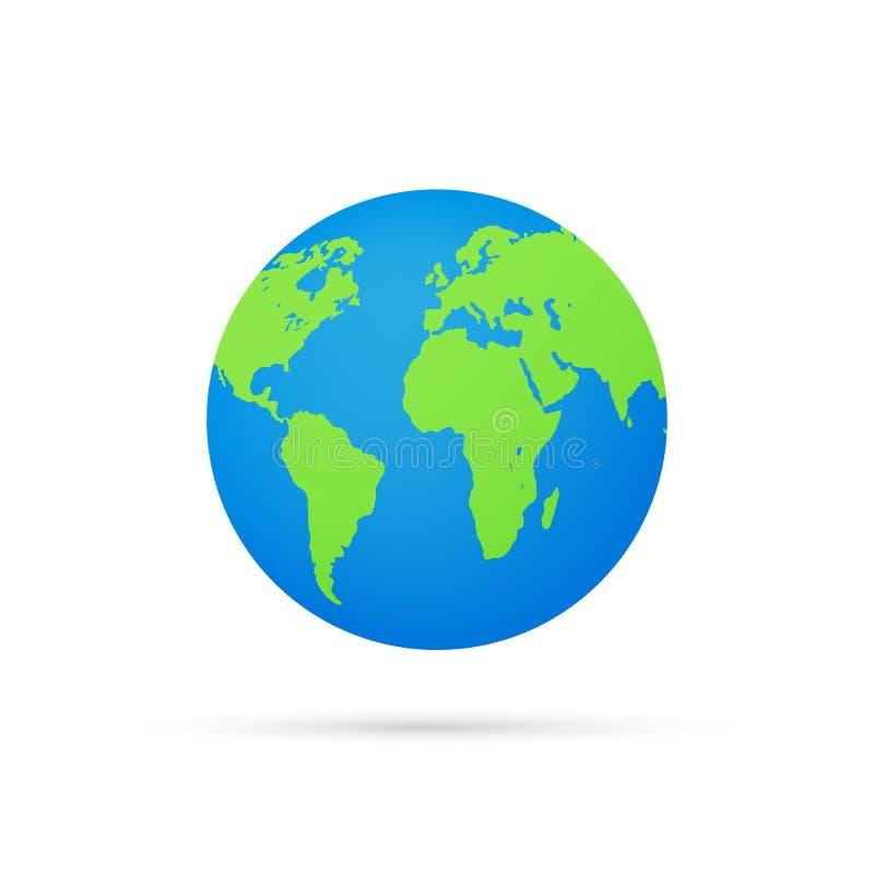 Globos da terra isolados no fundo branco ?cone liso da terra do planeta Ilustra??o conservada em estoque do vetor ilustração do vetor