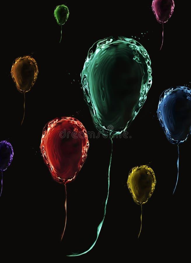 Globos de agua coloridos sobre negro imagen de archivo libre de regalías