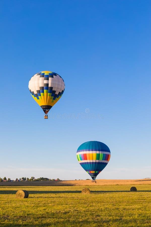 Globos de aire caliente coloridos que vuelan sobre el bosque foto de archivo libre de regalías