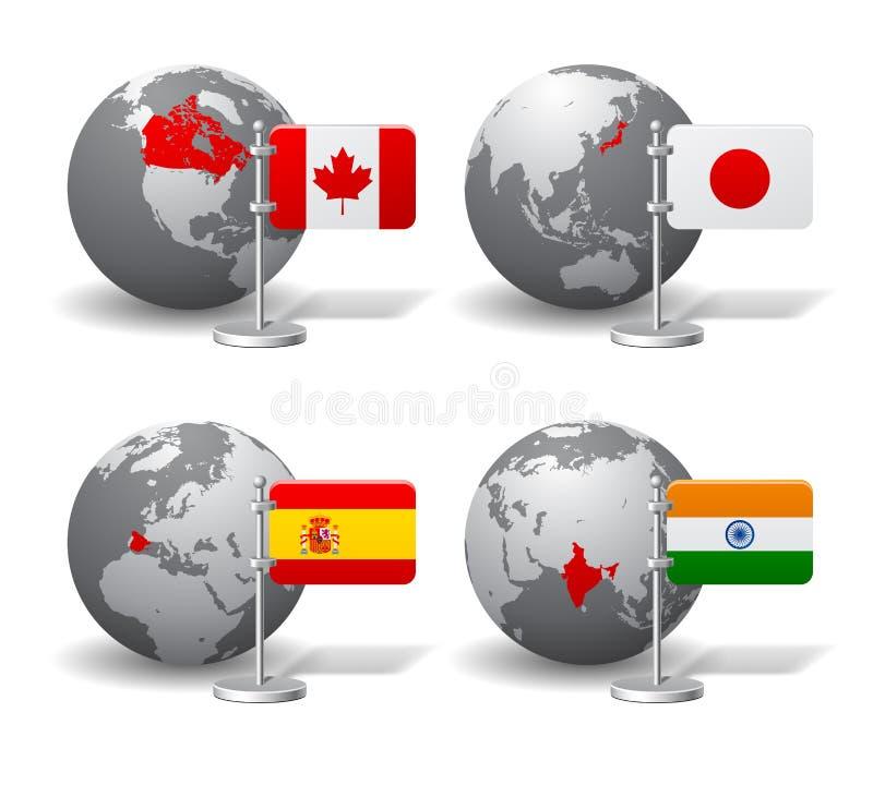 Globos de Gray Earth con la designación de Canadá, de Japón, de España y de la India stock de ilustración