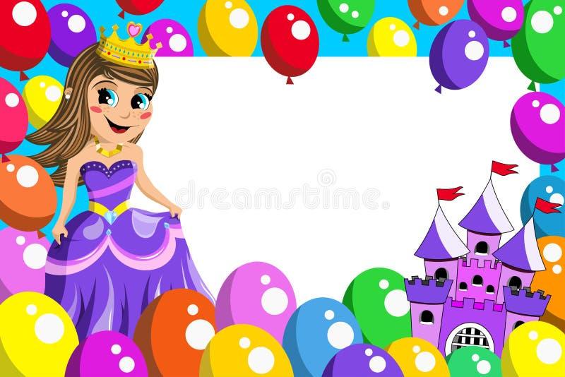 Globos de hadas del castillo de la princesa linda del capítulo stock de ilustración