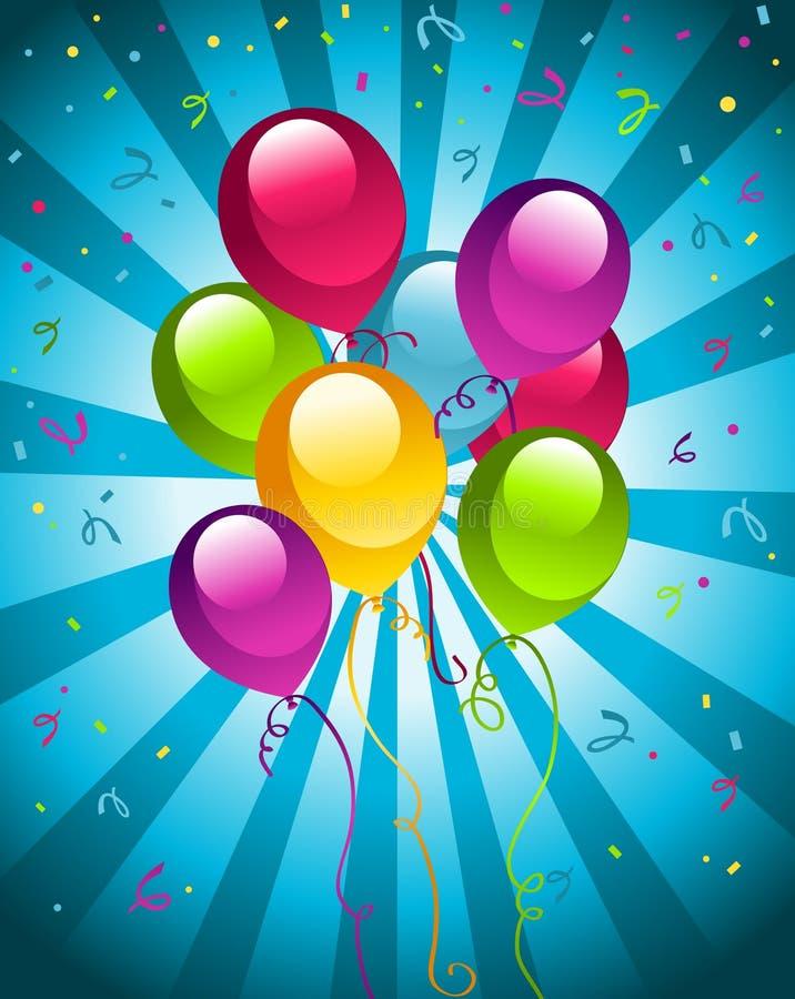 Globos de la fiesta de cumpleaños ilustración del vector