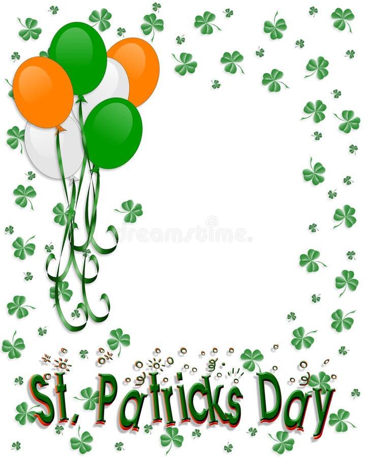 Globos de la frontera del día del St Patricks ilustración del vector