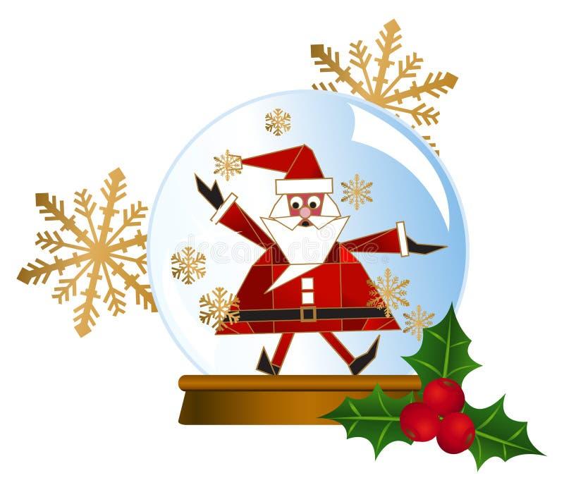 Globos de la nieve de Santa stock de ilustración