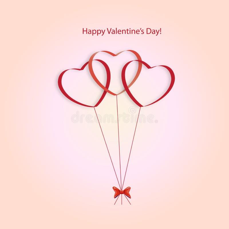 Globos de los corazones en un fondo rosado ilustración del vector