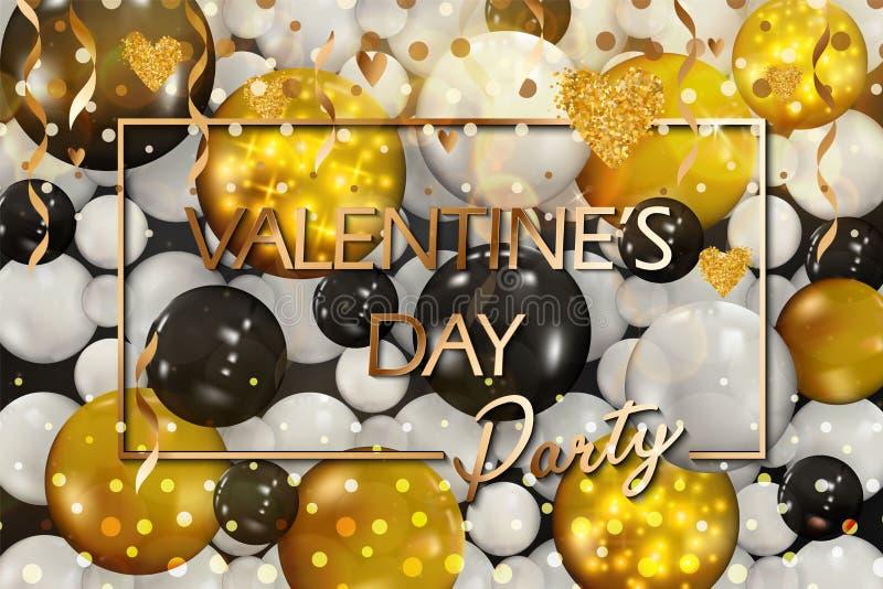 Globos de oro con confeti Día de tarjetas del día de San Valentín feliz Vector Día feliz de la tarjeta del día de San Valentín s  libre illustration
