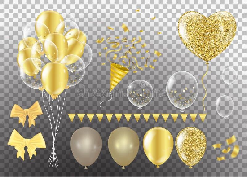 Globos de oro en la forma de un corazón en un fondo el shap stock de ilustración