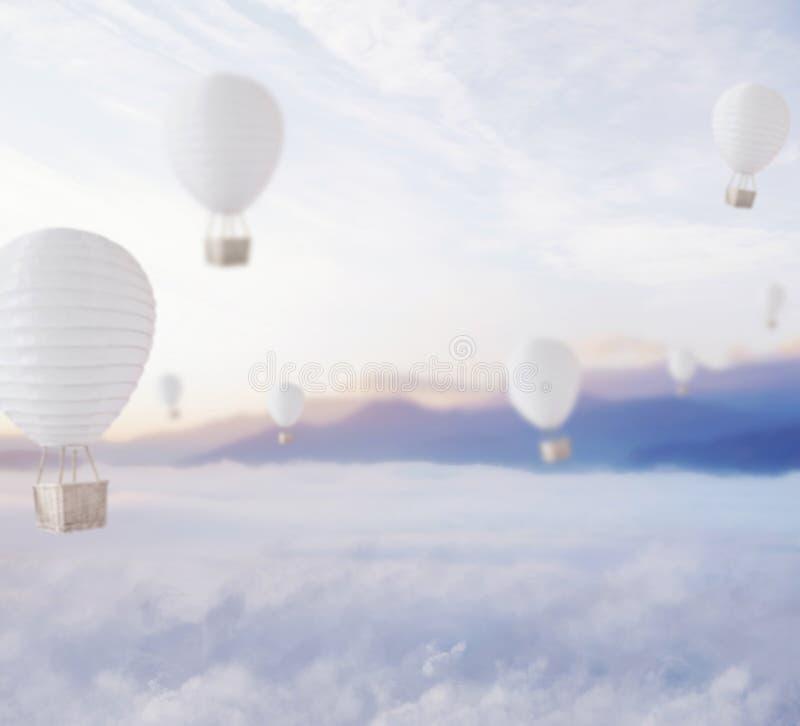 Globos Defocused sobre el cielo soñador fotografía de archivo