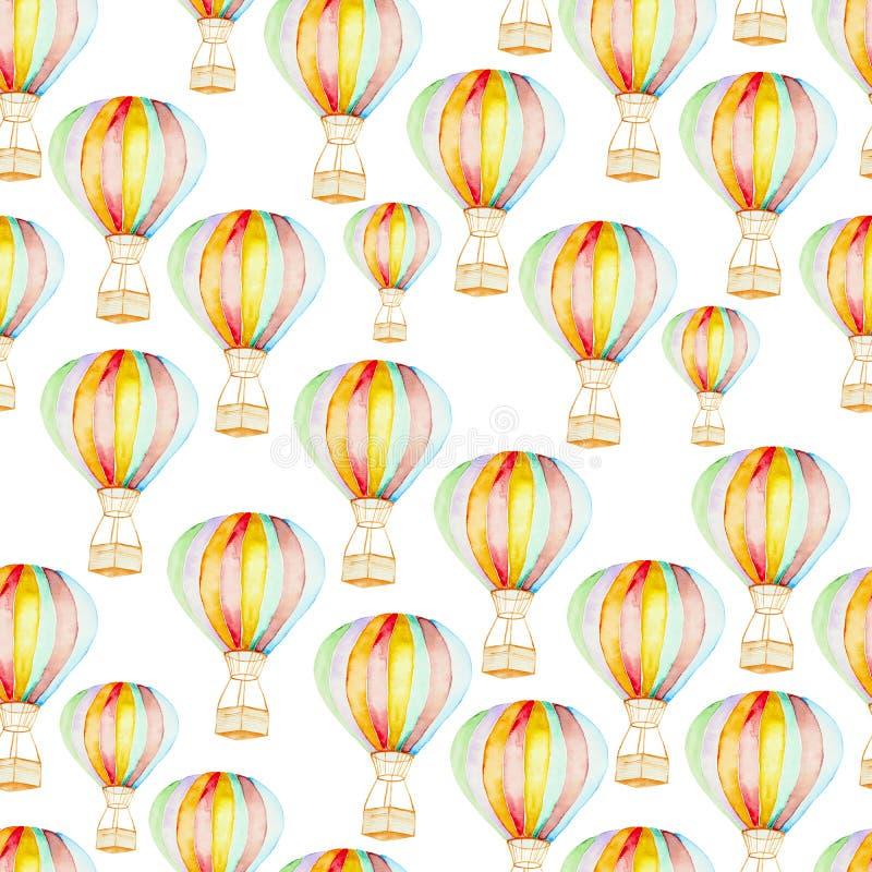 Globos del aire caliente del whith del modelo stock de ilustración