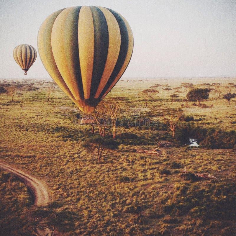 Globos del aire caliente en África fotografía de archivo