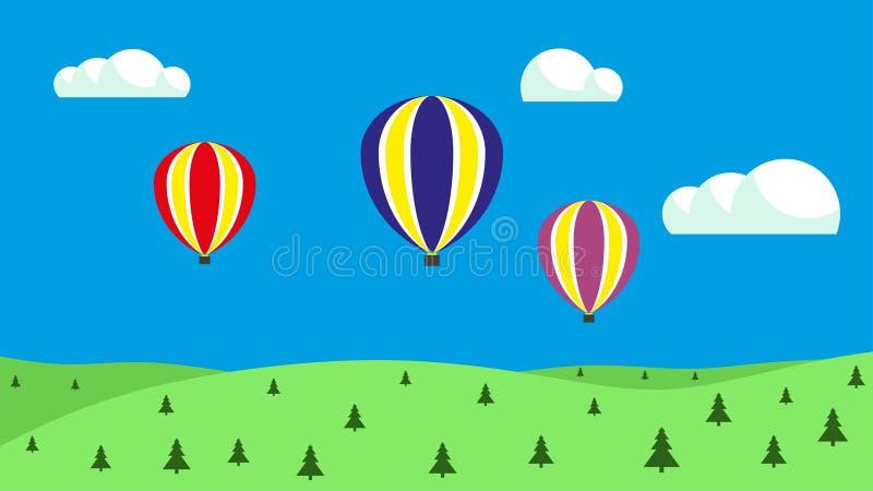 Globos del aire caliente en el cielo Globos que flotan en el cielo libre illustration