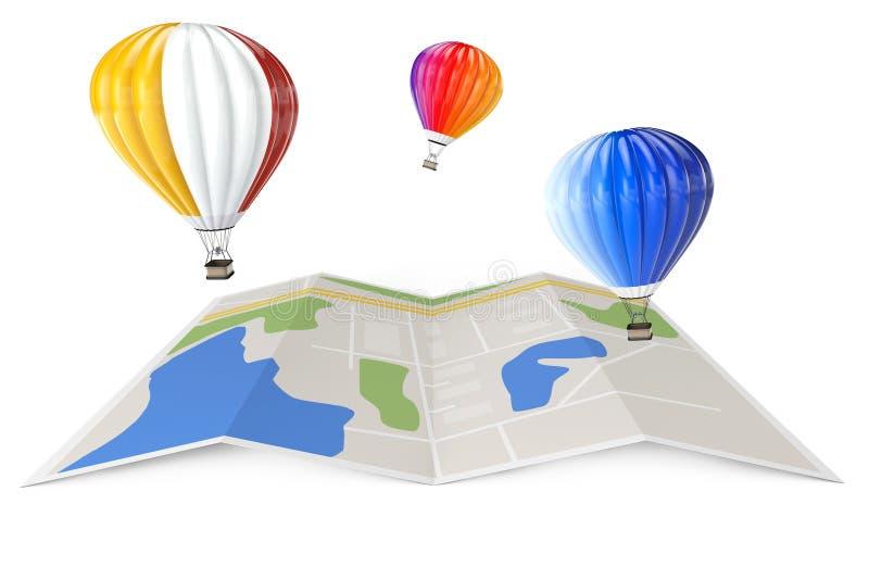 Globos del aire caliente sobre mapa de la ciudad representación 3d ilustración del vector