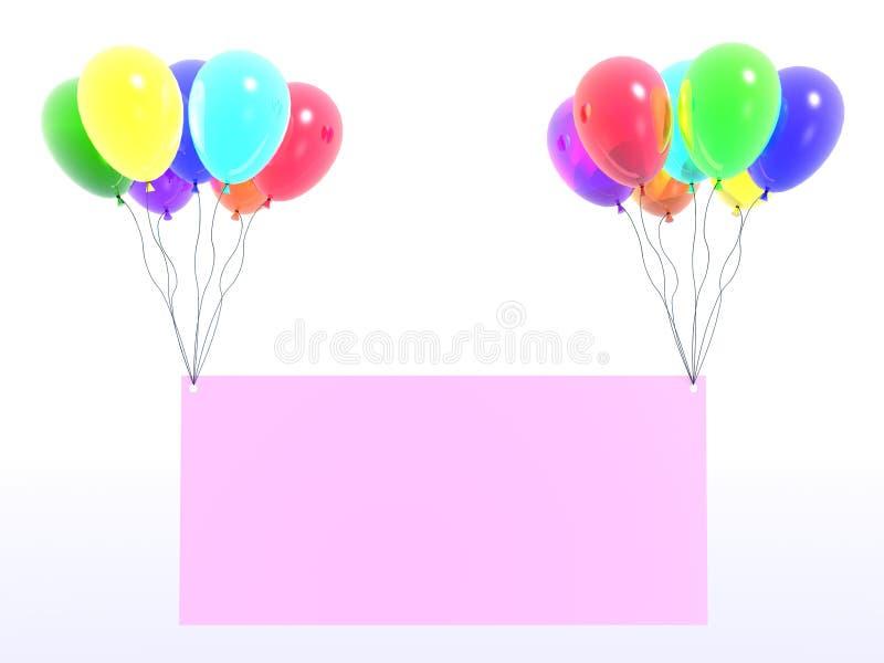 Globos del arco iris con el mensaje stock de ilustración