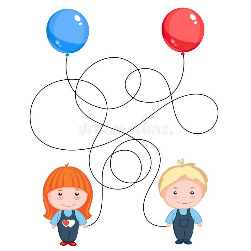 Globos del control del muchacho y de la muchacha ilustración del vector