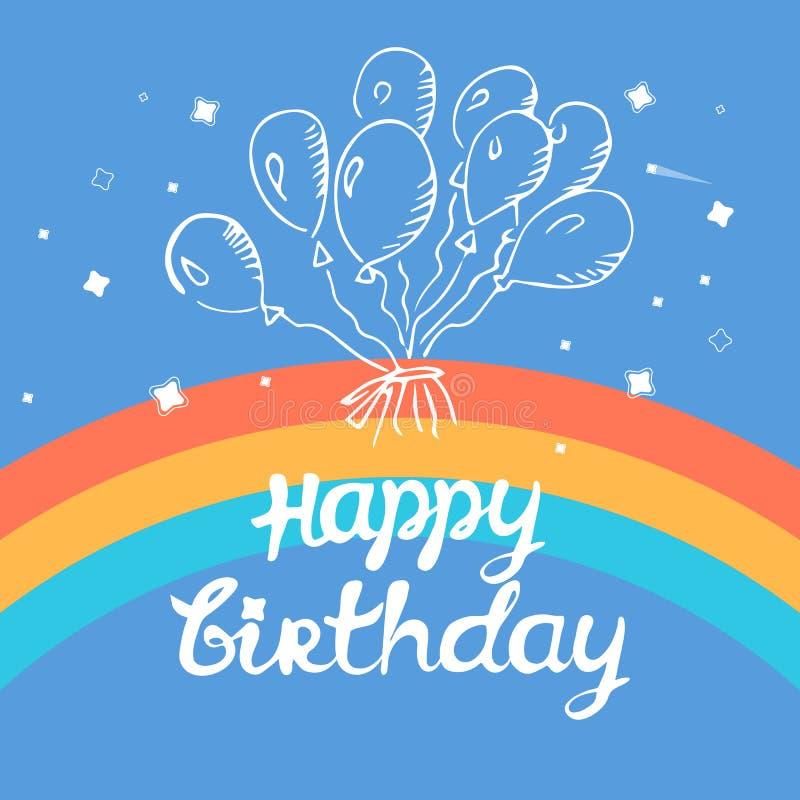 Globos del cumpleaños el saludo del feliz cumpleaños, arco iris, contorneó los globos en un fondo azul ilustración del vector