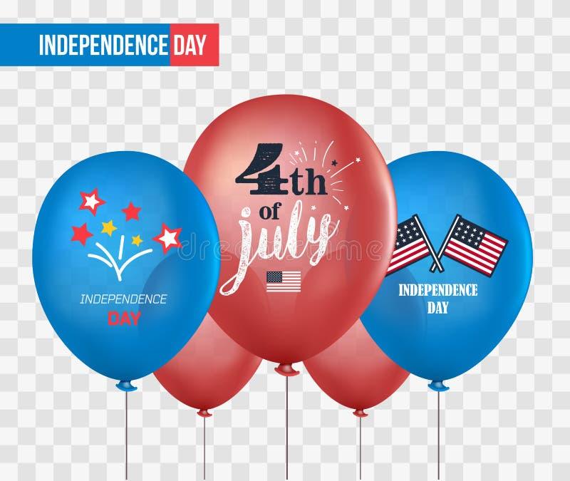 Globos del día de fiesta en fondo transparente el 4 de julio Celebración nacional Fondo del grunge de la independencia Day Sistem ilustración del vector