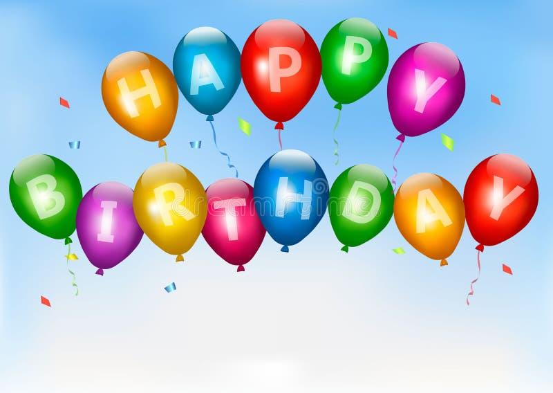 Globos del feliz cumpleaños. Fondo del día de fiesta. ilustración del vector